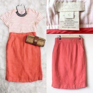 J. CREW | Coral Linen Tweed Pencil Skirt 6 M